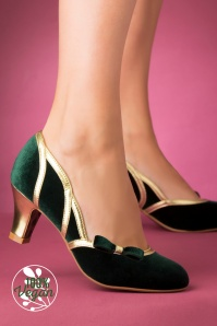 Bettie Page 29728 Camille Pump Green Gold 20191010 005 V