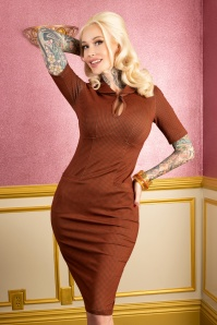 Tatyana Audrey Bow Pencil Dress Années 50 en Orange Cannelle