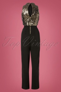 Little Mistress Festive Sequin Jumpsuit in Black 31064 20191014 0006W