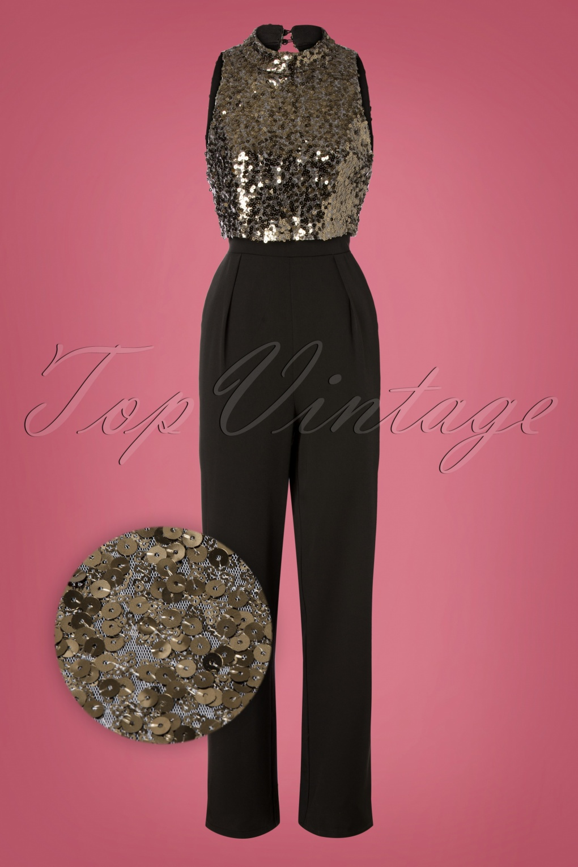 Vintage High Waisted Trousers, Sailor Pants, Jeans 60s Blaire Sequin Jumpsuit in Black £89.43 AT vintagedancer.com