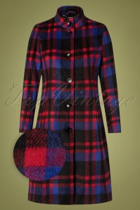 60s Shannon Check Coat in Blue and Red