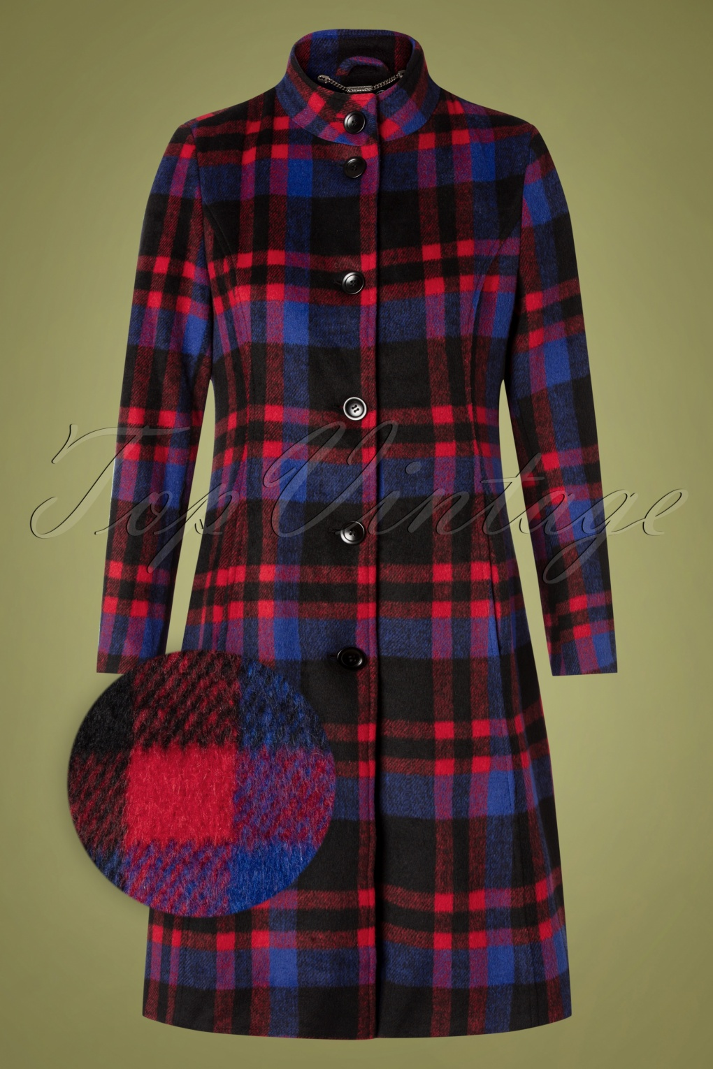 Vintage Coats & Jackets | Retro Coats and Jackets 60s Shannon Check Coat in Blue and Red £83.30 AT vintagedancer.com