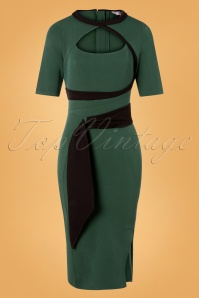 Miss Candyfloss 50s Belinda Gia Wiggle Pencil Dress in Emerald