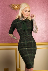 50s Catherine Plaid Pencil Dress in Green
