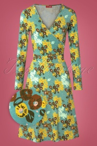 Who's That Girl 60s Krista Flowerking Dress in Blue