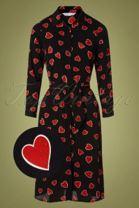 Compania Fantastica 60s Helena Hearts Shirt Dress in Black