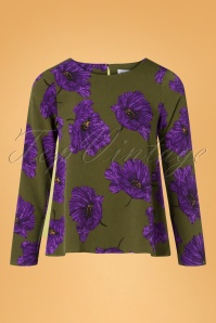 Compania Fantastica 70s Venia Floral Blouse in Green and Purple