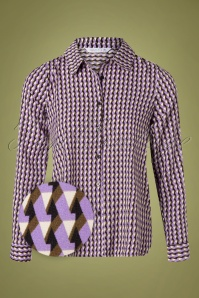 Compania Fantastica 60s Camisa Retro Blouse in Purple