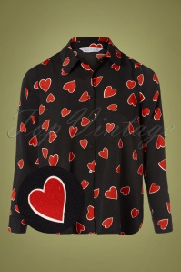 60s Camisa Hearts Blouse in Black