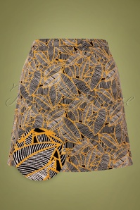 Compania Fantastica 60s Falda Leaves Mini Skirt in Black and Yellow