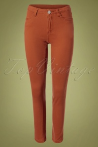 70s Ember Skinny Trousers in Rust Brown