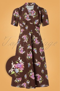 The Seamstress of Bloomsbury 40s Delores Floral Dancer Swing Dress in Brown