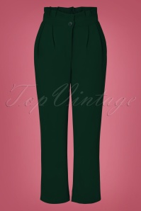 70s Hadley Paperbag Trousers in Forest Green
