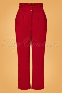 70s Hadley Paperbag Trousers in Lipstick Red