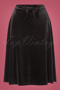 50s Lyddie Bow Swing Skirt in Black Velvet