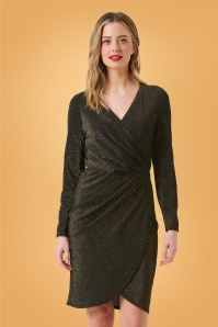 50s Kelli Sparkle Wrap Dress in Black and Gold