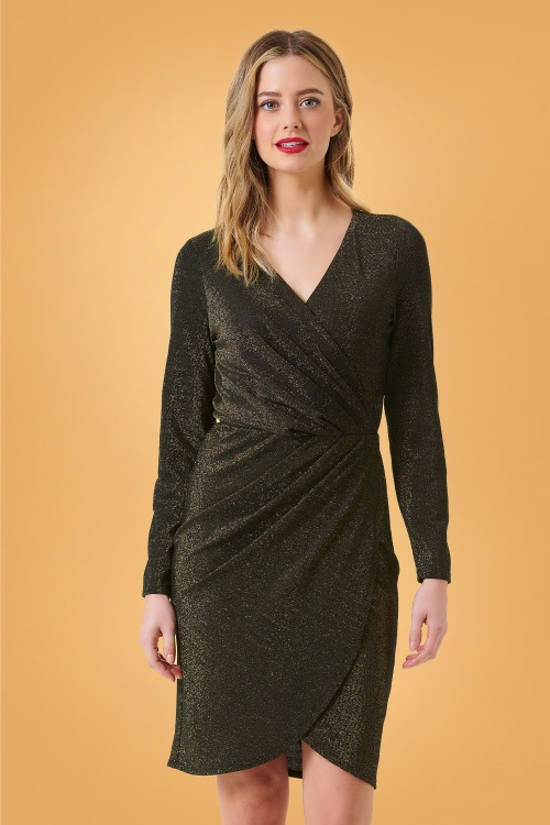 Sugarhill Brighton 30967 Kelli Gold Sparkle Wrap Dress in Black 20191010 020L W