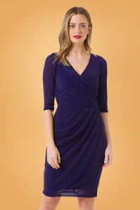 Sugarhill Brighton 60s Millie Sparkle Wrap Dress in Midnight Blue