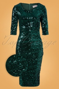 Vintage Chic for TopVintage 50s Ariël Sequin Pencil Dress in Sea Green Velvet