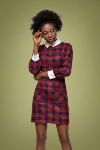 Marmalade 31873 Plaid Pattern Dress in Navy Blue Red White 20190819 020LW