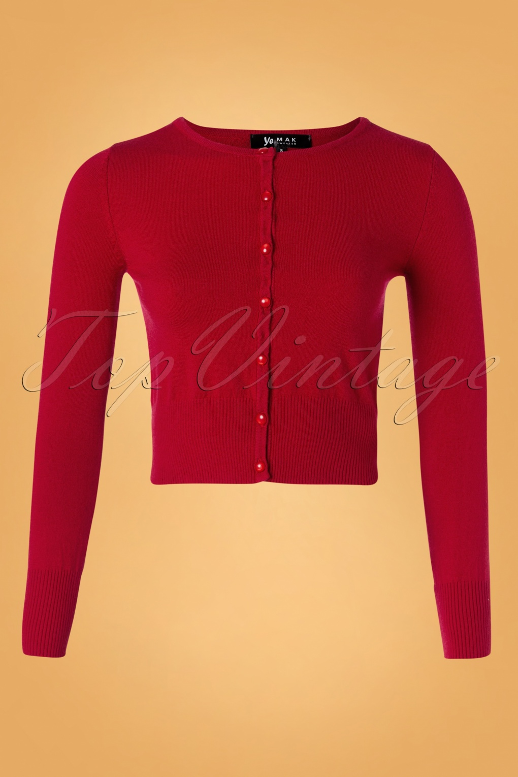 50s Nyla Cropped Cardigan in Lipstick Red