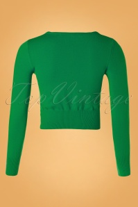 Mak Sweater 32368 Cardigan Crop Green 10162019 005W