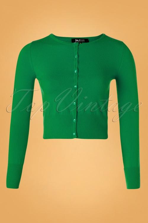 Mak Sweater 32368 Cardigan Crop Green 10162019 003W