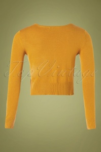 Mak Sweater 32367 Cardigan Crop Yellow Bronze 10162019 003W
