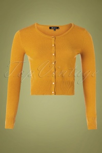 Mak Sweater 32367 Cardigan Crop Yellow Bronze 10162019 001W