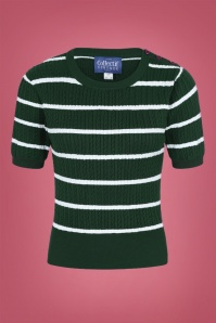 Collectif Clothing 40s Lynn Striped Jumper in Green