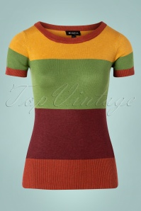 Bright and Beautiful 70s Sydney Striped Jumper in Brown