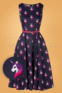 Lady V by Lady Vintage Hepburn Unicorn Swing Dress Années 50 en Violet de Minuit