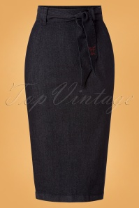 50s Kelley Denim Pencil Skirt in Dark Blue