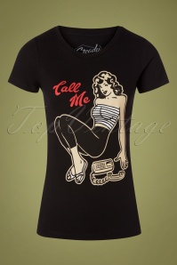 Steady Clothing Call Me T-Shirt Années 50 en Noir