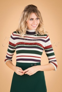 Banned Retro 60s Sweet Stripe Roll Neck Top in White