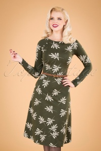 Let the Leaves Dance Dress Années 60 en Vert
