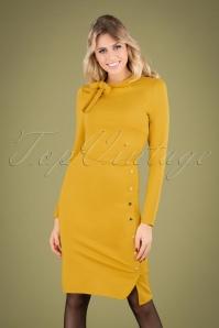 60s Clara Pencil Dress in Mustard
