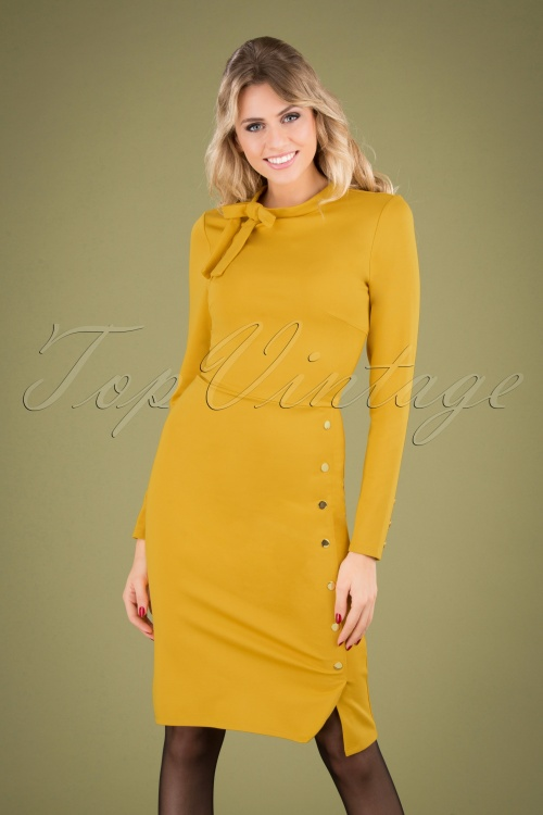 Smashed Lemon 30229 Pencil Dress in Mustard 20190903 040MW