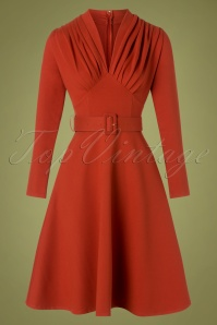Katakomb 50s Claudia Swing Dress in Cinnamon