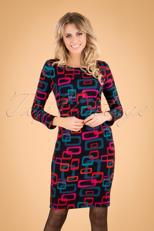500 Vintage Style Dresses for Sale 60s Montpellier Chain Pencil Dress in Black £45.89 AT vintagedancer.com