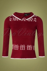 SugarShock 40s Mirtha Jumper in Dark Red