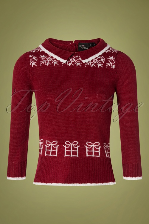SugarShock 31242 Mirtha Dark Red Christmas Jumper 20191021 0001 W
