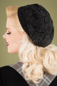 50s Betty Glitter Beret in Black