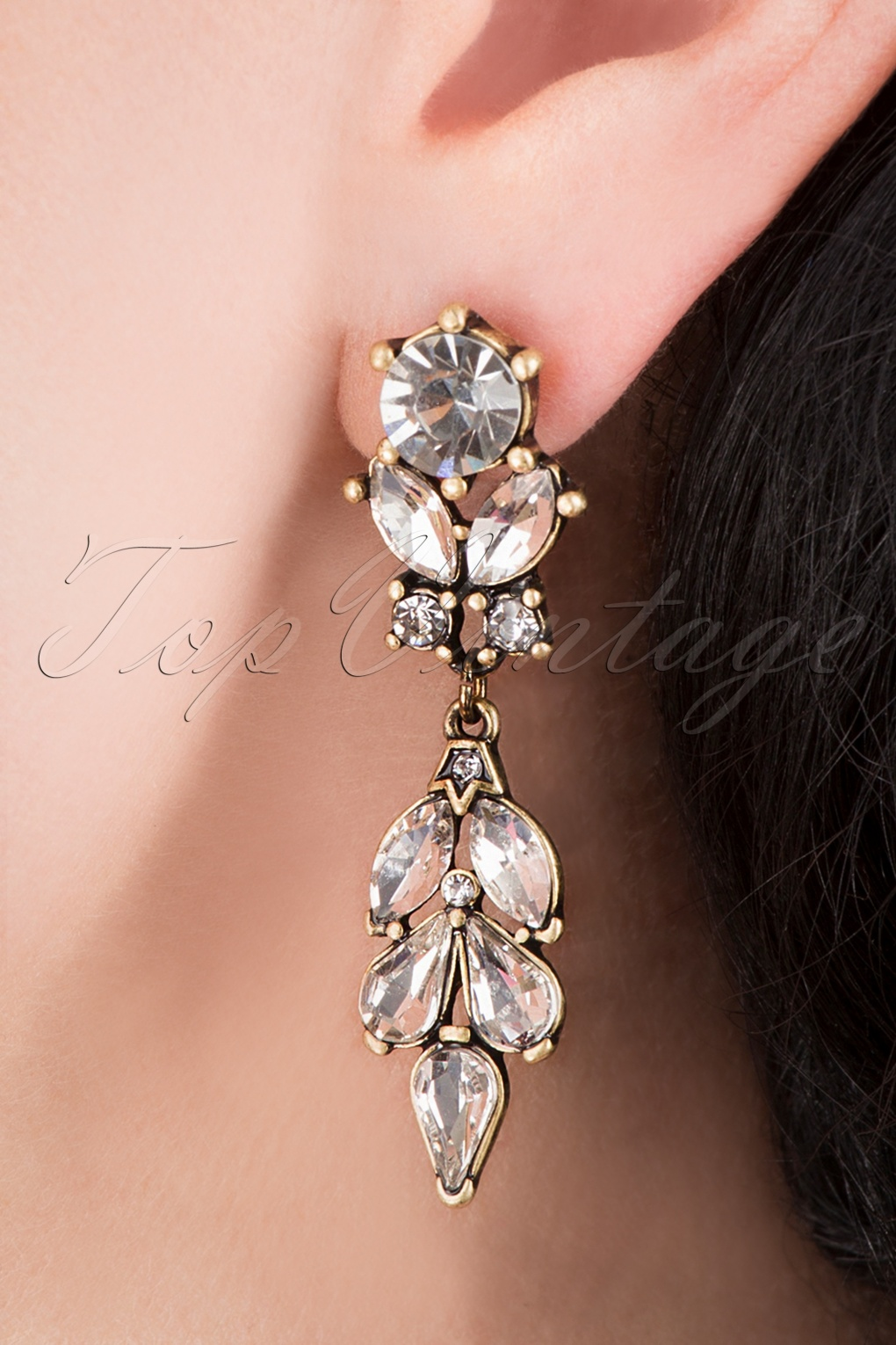 Vintage Style Jewelry, Retro Jewelry 20s Crystal Leaves Earrings in Gold £17.73 AT vintagedancer.com