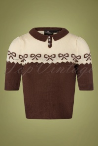 SugarShock 40s Berit Bow Jumper in Brown and Cream