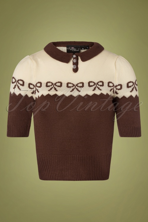 SugarShock 31243 Berit Brown Cream Bow Jumper 20191021 0002W