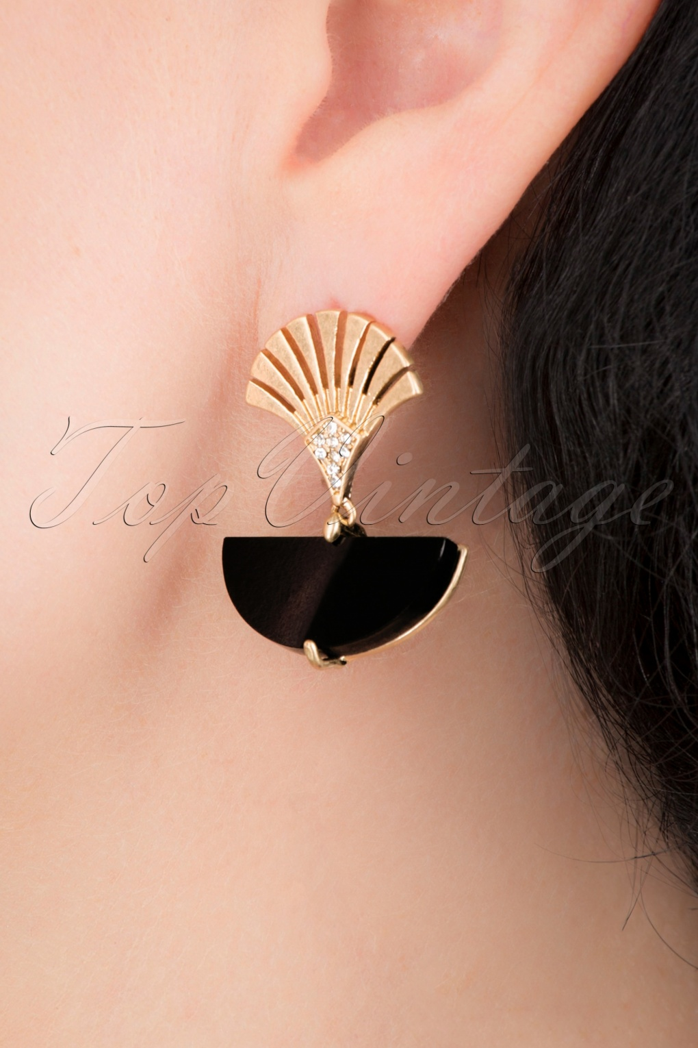 1920s Gatsby Jewelry- Flapper Earrings, Necklaces, Bracelets 20s Art Deco Moon Earrings in Gold and Black £23.97 AT vintagedancer.com