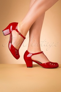 B.A.I.T. 40s Robbie T-Strap Pumps in Lipstick Red