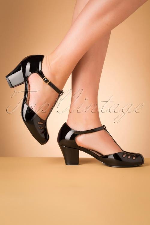 Bait Footwear 31225 Robbie Black Patent T strap 20191015 008 W
