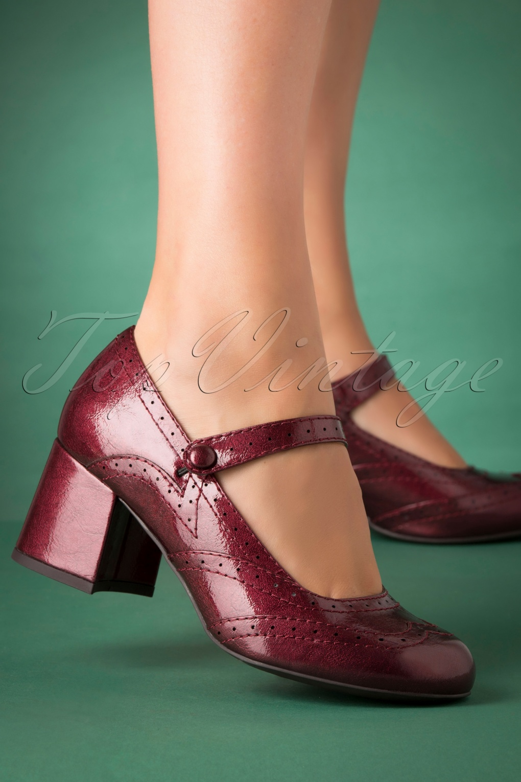 60s Shoes, Boots | 70s Shoes, Platforms, Boots 60s Cora Mary Jane Patent Pumps in Red £68.10 AT vintagedancer.com